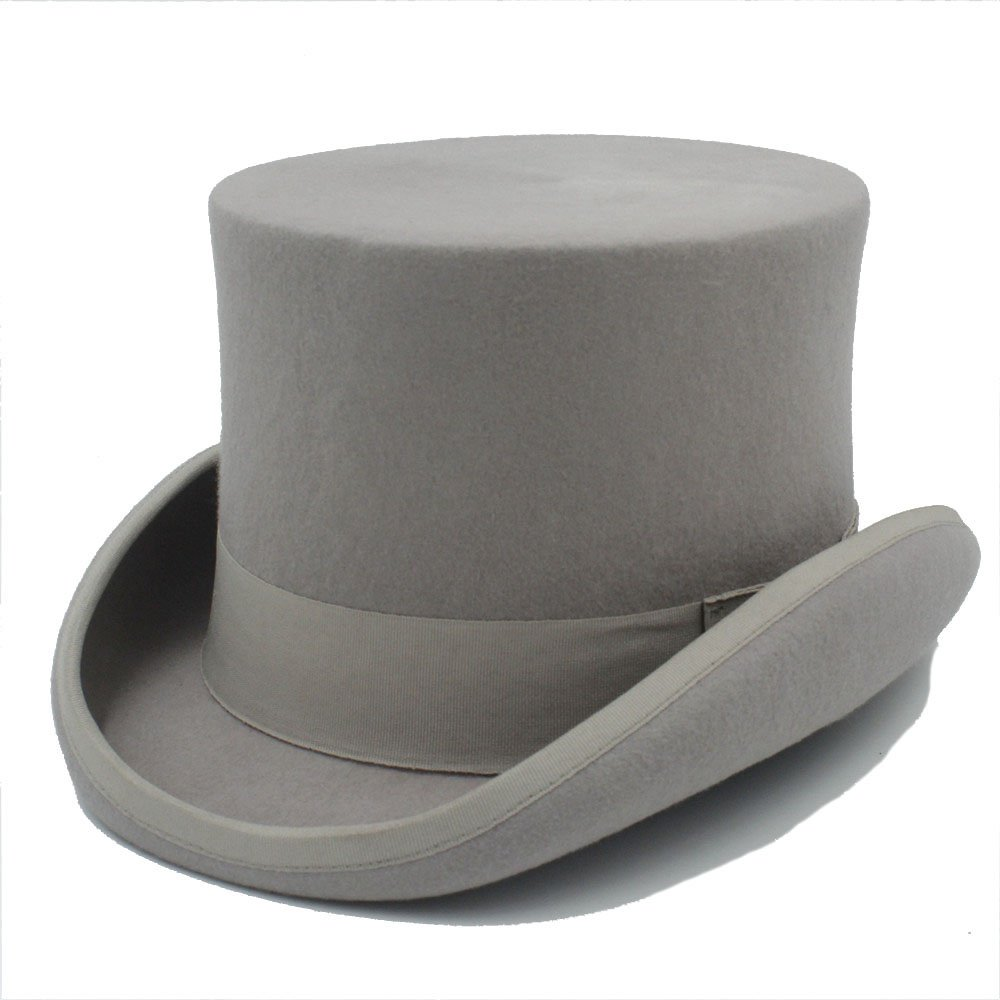 LL Black Steampunk Mad Hatter Top Hat Victorian Vintage Traditional Wool Fedoras Hat Wide Brim Hat (Color : Gray, Size : 55CM)
