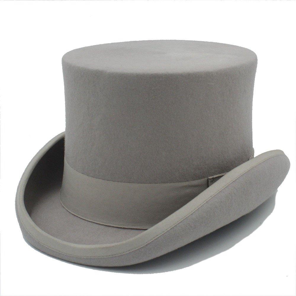 LFLING 15CM(Steampunk/Mad Hatter Top Hat/Victorian Vintage Traditional Wool Fedoras Hat/Cylinder Hat/Chimney Pot Hat (Color : Gray, Size : 55cm)