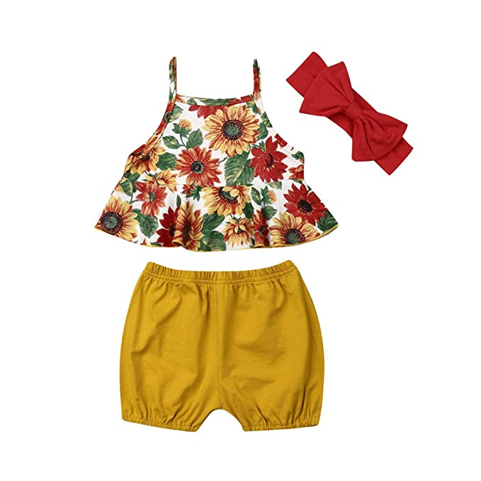 Toddler Baby Girl Sunflower Outfit Set Party Sunsuit Clothes Top+Shorts+Headband
