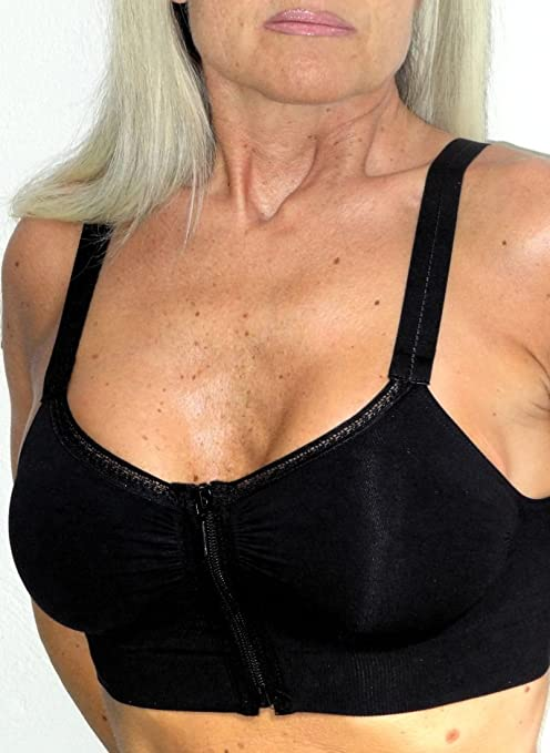Post breast enlargement zip bra or Sport use - Black size S