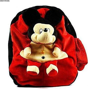 Emutz Kids/Girls/Boys/Children Micky Cartoon Toy Cute School Plush Soft Bag Backpack (Red, 3 to 5 Year)