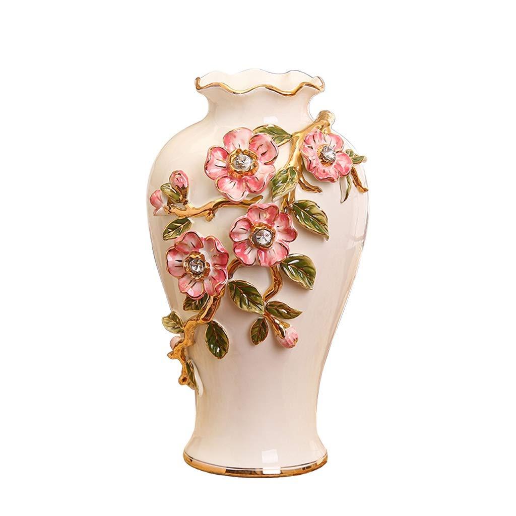 MAHONGQING 花瓶新しいヨーロッパクリエイティブセラミック装飾品リビングルームフラワーアレンジメントホームアクセサリー磁器装飾大花瓶 B07RW3V2GJ