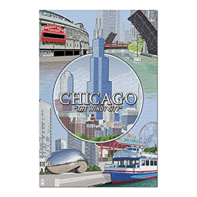 Chicago, Illinois - City Scenes Montage (Premium 1000 Piece Jigsaw Puzzle for Adults, 20x30, Made in USA!): Toys & Games