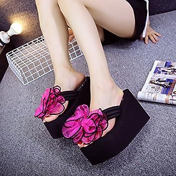 AWXJX Sommer- Frauen Flip Flops Bow Tie High Heel Flip Flops Dick unten Zuziehen Hang Seaside Grau 5.5 US/35.5 EU/3/UK k9GzFGg
