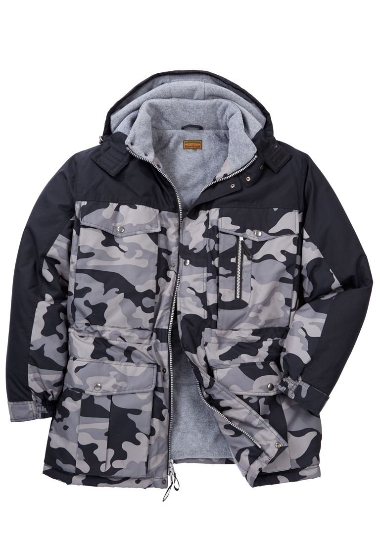 Boulder Creek Men's Big & Tall Colorblock Expedition Hooded Parka, Black Camo by Boulder Creek