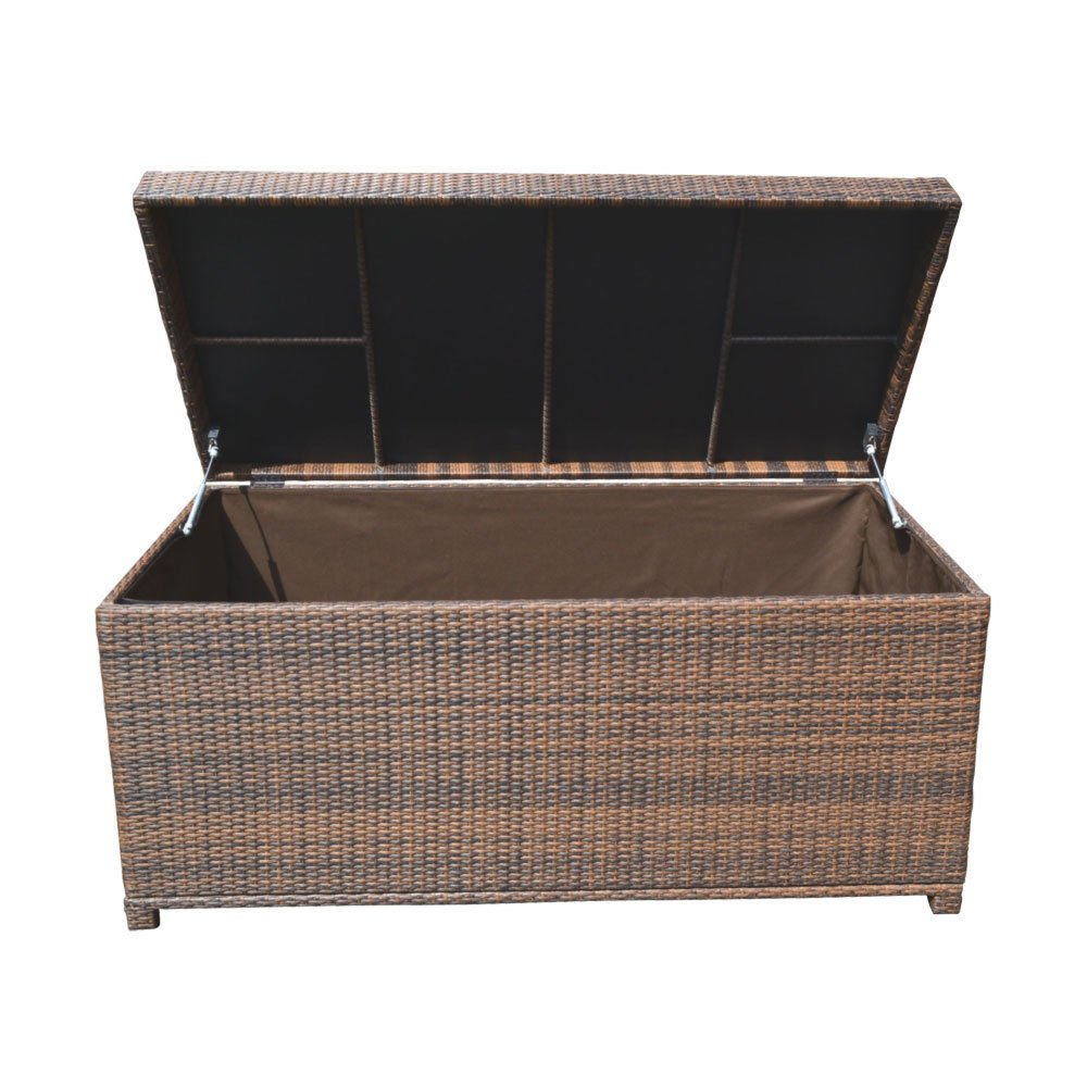 Style 2 ESPRESSO 64'' x 30'' x 30'' Large Wicker Storage Box Chest Deck Poolside Storing Patio Case by Generic (Image #4)