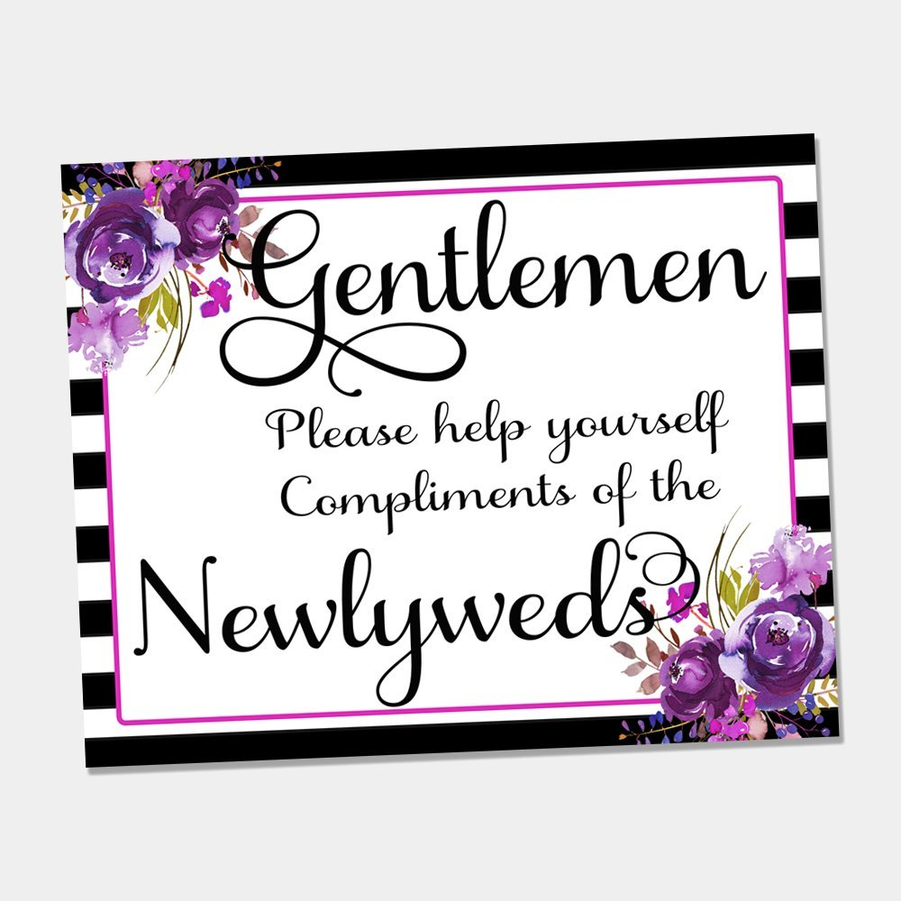 2a31f8e2c Amazon.com  Oh Baby Stickers Purple Floral Men s Bathroom Basket Print -  Wedding Decor Signs - 8
