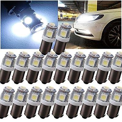 20 PCS Kecko(TM) T11 BA9S 5050 5 SMD Xenon White High Power LED Light Bulb Car DC 12V 1895 T4W 1445 6253 Lamp(Pack of 20)--Automotive Lights
