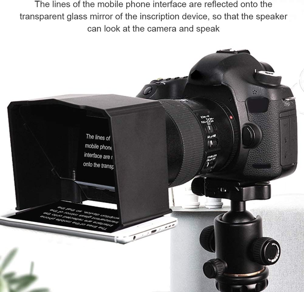 Black MOOSUNGEEK Teleprompter Kit with Elite Remote Adapter Ring for Interview Speech TV Show,Compatible with DSLR Camera Phone Below 6 inch