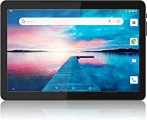 Tablet 10 inch, Android 8.1 Go Tablets PC, 3G Phablet with Dual Card Slot, Dual Camera, 1+16GB, GMS Certified, 1.3GHz, 1280x800 IPS, WiFi, Bluetooth, GPS - Black