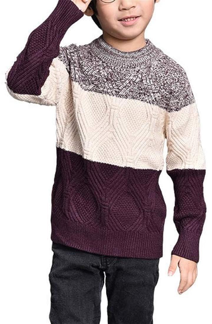JSY Boys Color Block Fall Winter Knitwear Crew Neck Pullover Jumper Sweater
