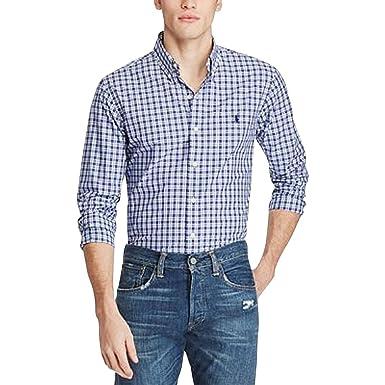 Ralph Long Fit Button Slim Men's Poplin Lauren Sleeve Plaid Polo iPZlOTkXwu
