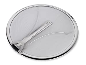"""Culina Premium 13"""" Stainless Steel Splatter Screen resting feet with Hinged Folding Handle"""