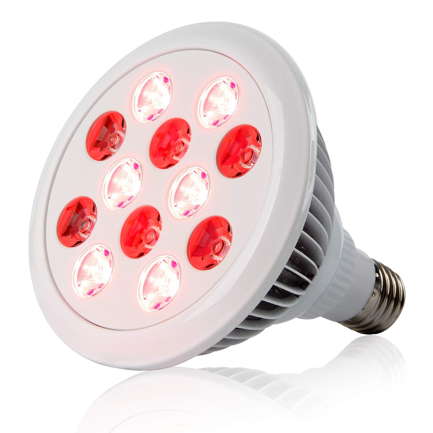 24W Red Led Light Therapy Deep Red 660nm and Near Infrared 850nm Led Light Therapy Bulbs for Skin and Pain