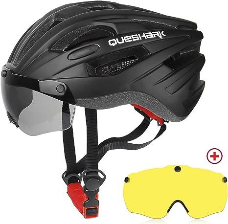 Queshark Casco Bicicleta con 2 Lente Magnética Protección de ...
