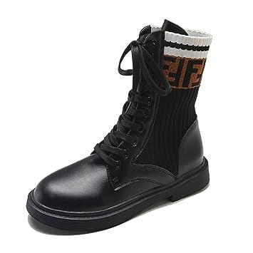 LBTSQ-Martin Botas Calcetines Botas 3Cm Tacones Medio Tubo Zapatos De Mujer.Cuarenta Black