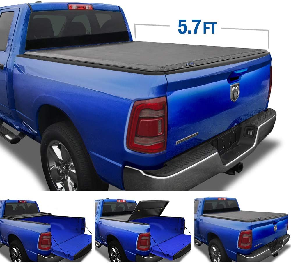Tyger Auto T3 Tri-Fold Truck Tonneau Cover TG-BC3D1044 Works with 2019 Dodge 1500 Without Ram Box Fleet Side 5.7 Bed