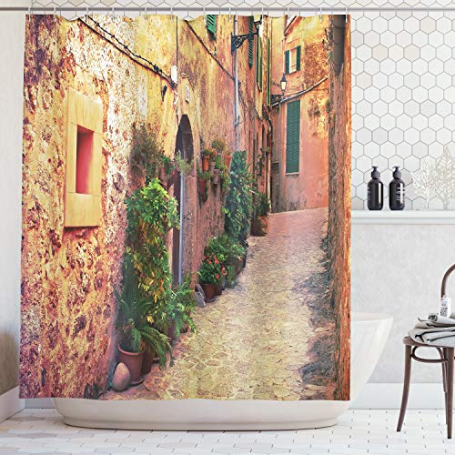 Ivory Rug By 05 (Ambesonne Wanderlust Decor Collection, Ancient Street in Valldemossa Village Mallorca Spain Vintage Door Road Tourism Image, Polyester Fabric Bathroom Shower Curtain Set with Hooks, Green Ivory)