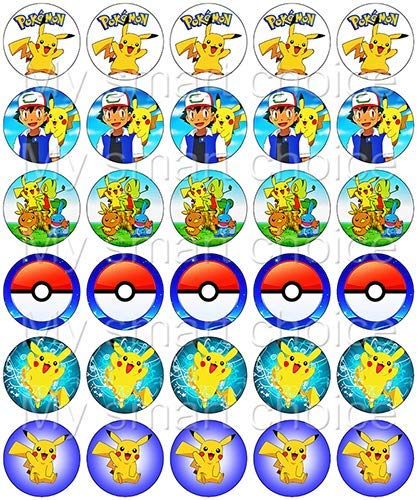 30 x Edible Cupcake Toppers – Pokemone Themed Collection of Edible Cake Decorations | Uncut Edible Prints on Wafer -
