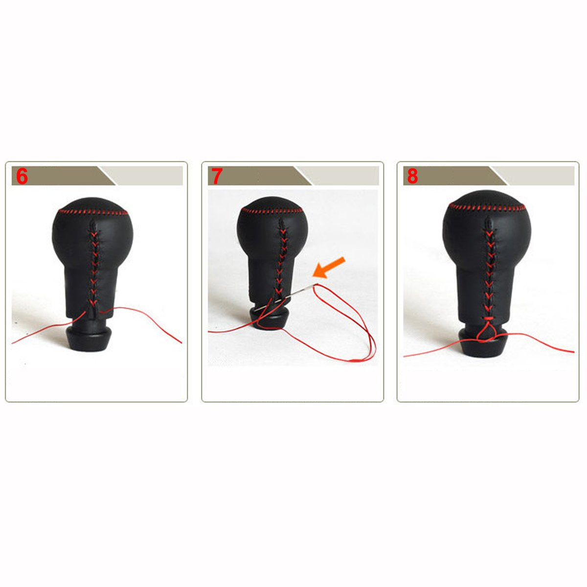Red with Red Wire Coolbestda Hand Sewing Genuine Leather Gear Shift Knob Cover Shifter Case for 2016 2017 2018 2019 Honda Civic Coupe Hatchback Automatic Black