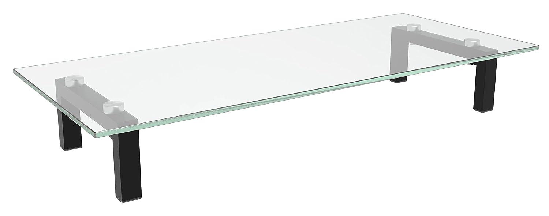 RICOO Supporto da tavolo per TV Montaggio FS8235-C Staffa per televisore base piatto piedistallo Smart 4K Curvo 3D QLED OLED LED LCD mobile braccio television universale Vetro trasparente piedi nero