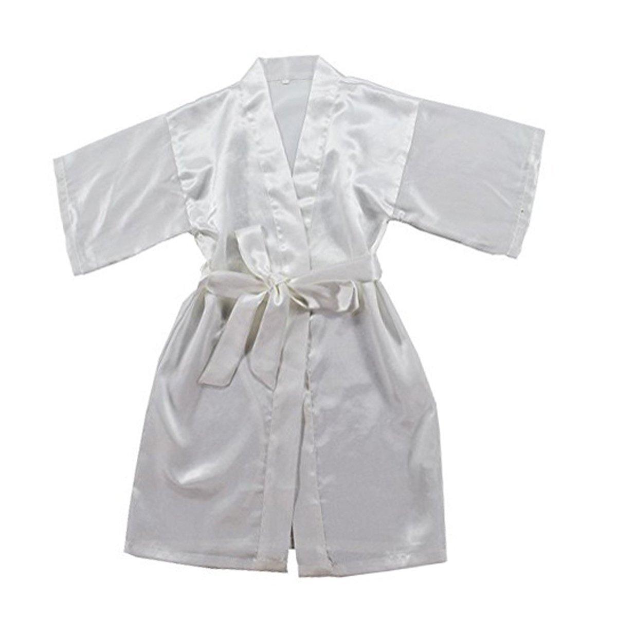 TOLLION Boys and Girls Satin Kimono Robe Kids Pure Color Bathrobe Nightgown (4T, White)