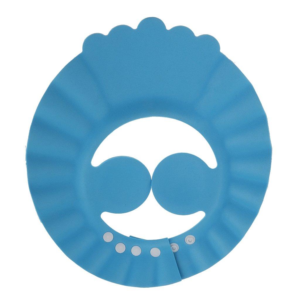 MagiDeal Chapeau Shampooing Bébé Enfant Ajustable Protection Yeux Oreillers PVC Souple Bleu