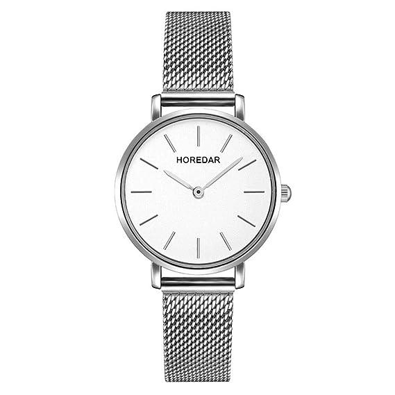Relojes Mujer con Correa de Malla de Plata, Escala del Clavo Relojes de Pulsera Elegante clásico, Dial Blanca: Amazon.es: Relojes