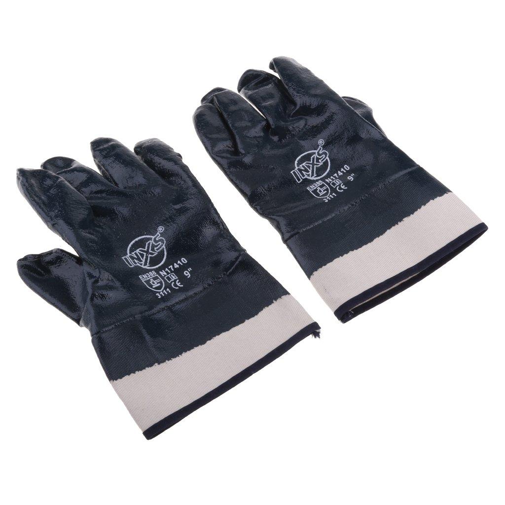 Baoblaze Nitrile Coated Work Gloves, Wear-Resisting Puncture-Proof Oil-proof For Yard Work, Gardening, Farm, Warehouse, Construction, Men & Women - Blue, L