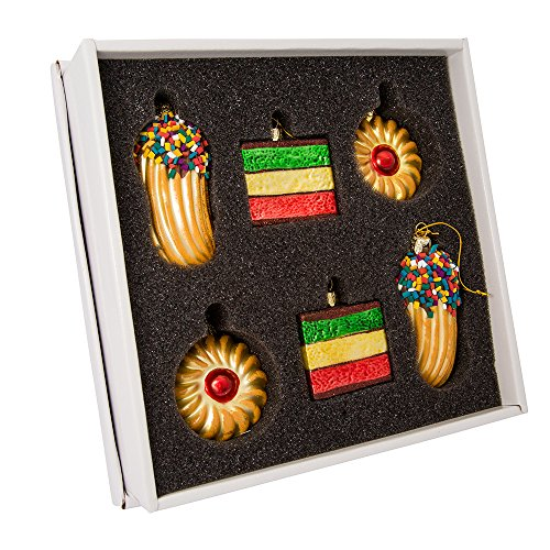 Kurt Adler 2-Inch-3-Inch Noble Gems Glass 6-Piece Cookie Ornament Set, ()
