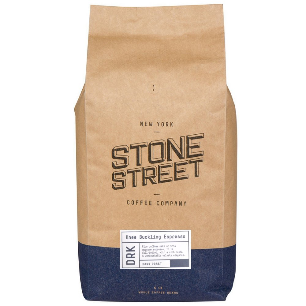 KNEE BUCKLING ESPRESSO High Caffeine Whole Bean Coffee | 5 LB Bulk Bag | Extra Strong | Medium Dark Roast | Bold & Balanced Intense Flavor | Specialty Handcrafted in Brooklyn | 100% Arabica