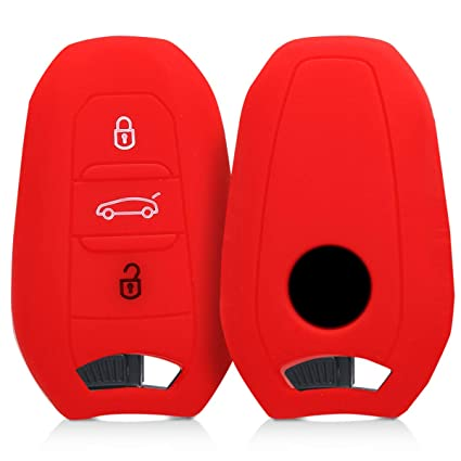kwmobile Car Key Cover for Peugeot Citroen - Silicone Protective Key Fob Cover for Peugeot Citroen 3 Button Car Key Smart Key (only Keyless Go) - Red