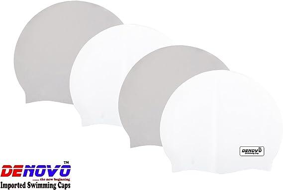DeNovo Imported Swimming Caps Set of 4  2 x White + 2 x Grey  Swimming