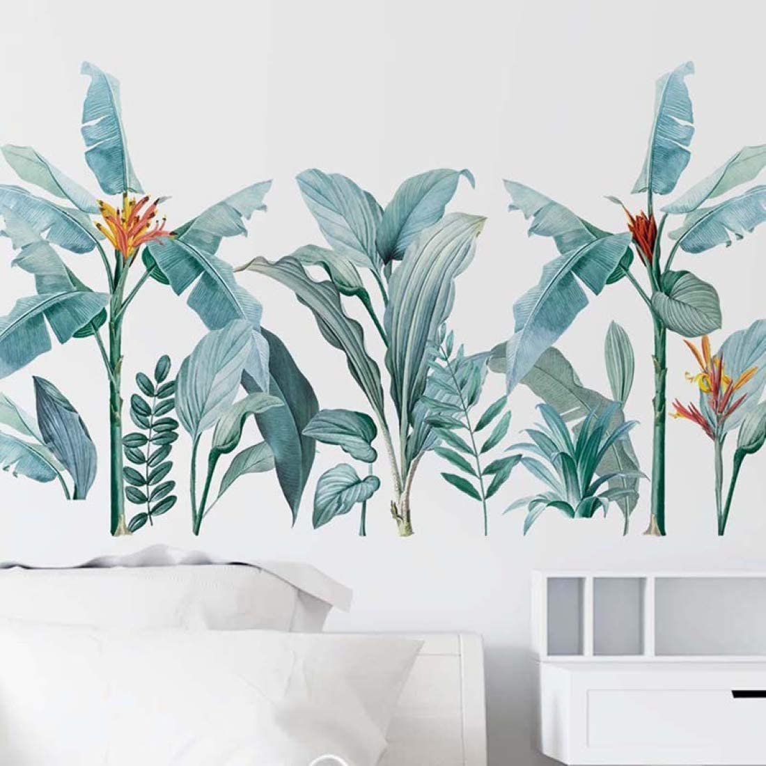 Green Plants Wall Decal Tropical Natural Plant Wall Decor Creative Removable Wall Stickers for Wall Corner Window Nursery Room Living Room Office Bedroom Decor(Plant_2)