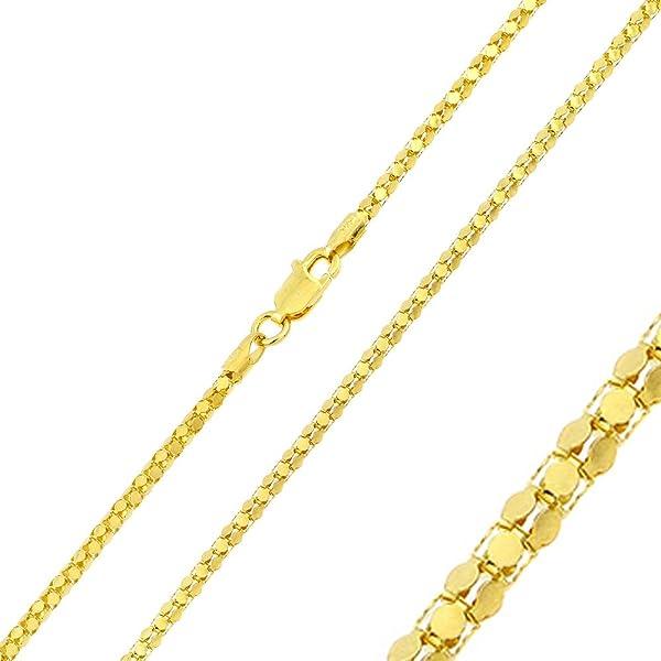 4d69f54ca9de8 Double Accent 2mm Sterling Silver Italian Chain Necklace 14K Gold ...
