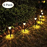 GELOO Solar Pathway Lights 6 Pack Solar Outdoor Lights Solar Garden Lights Outdoor Solar Landscape Lights for Lawn, Patio, Yard, Walkway, Driveway