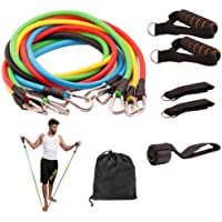 11 Pcs Resistance Fitness Band Set with Stackable Exercise Bands Legs Ankle Straps Multi-function Professional Fitness…