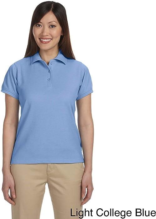 9e120f423 Harriton Women's Blend-Tek Short Sleeve Polo Shirt Light College Blue 3X  (22W -