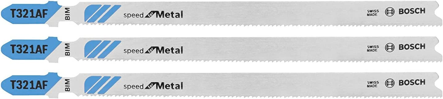 BOSCH T321AF3 3-Piece 5-1/4 In. 21 TPI Speed for Metal T-Shank Jig Saw Blades
