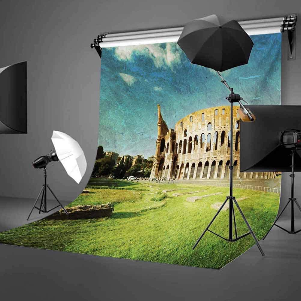Sunset at Historical Colosseum in Rome Italian Landmark European Artwork Scenery Background for Party Home Decor Outdoorsy Theme Vinyl Shoot Props Green Blue Vintage 6.5x10 FT Photography Backdrop
