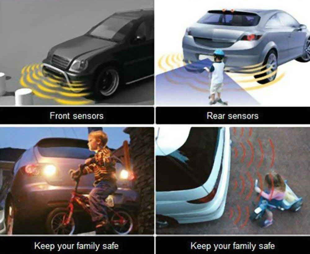 Big Hippo Car Reverse Sensor Kit With 4 Sensors Rear Car Parking Sensor Black