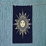 gym shower towel Occult Sun with Face Boho Chic Esoteric Solar Spiritual Display Yellow Dark Blue Soft Cotton Machine Washable W11.8 x H27.5 INCH