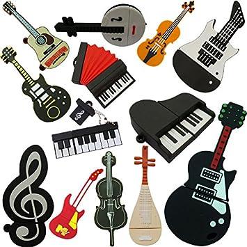 USB Flash Drive de instrumentos musicales Pipa Música PVC Guitarra ...
