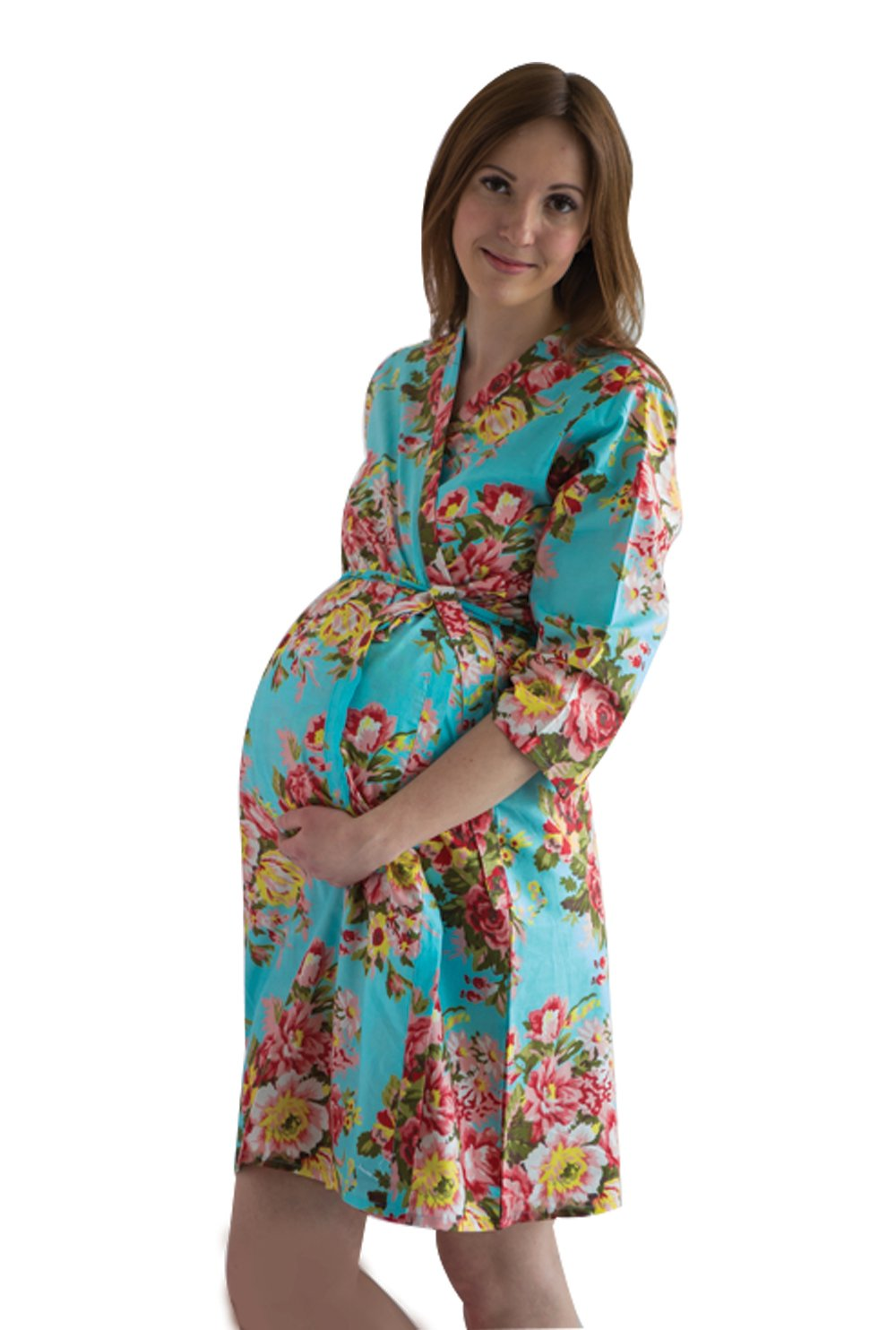 My Growing Belly Turquoise Blue Maternity Robe - Perfect as Hospital Gown, Labor Birthing Gown, Nursing Robe (X-Large,Turquoise Blue Rosy Red Posy Pattern)