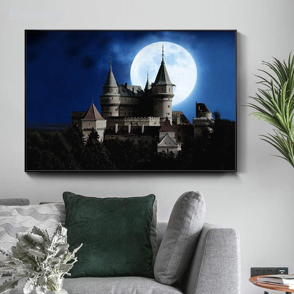 KWzEQ Imprimir en Lienzo Hermoso póster del Castillo Moderno y decoración para Arte de pared60x90cmPintura sin Marco