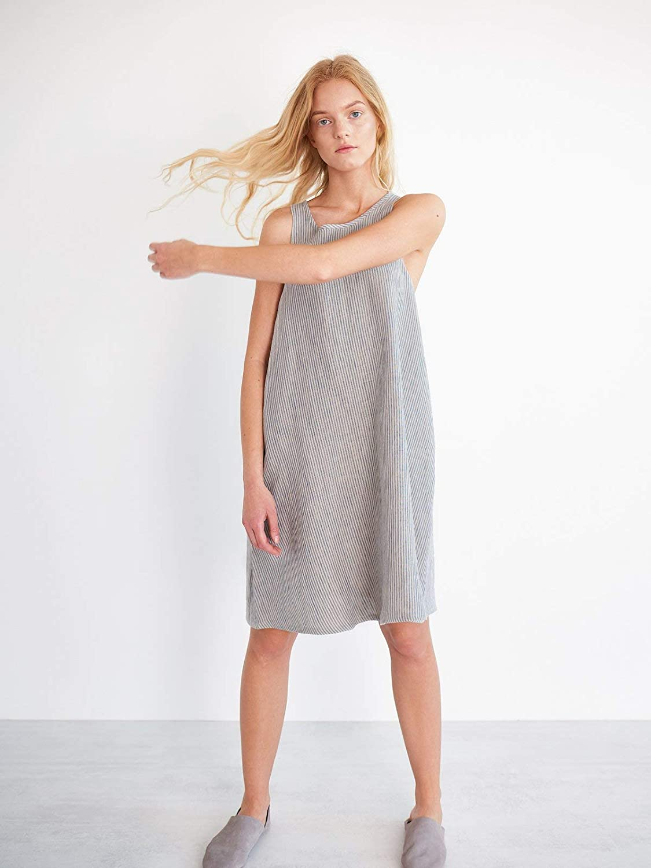 LILY Linen Shift Dress in Stripe Summer Midi