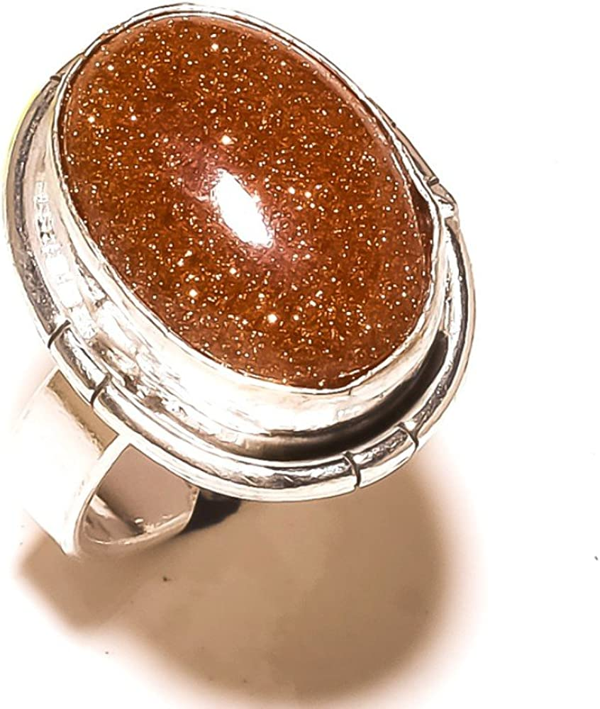Golden Sunstone Handmade Jewellry 925 Sterling Silver Plated 8 Grams Ring Size 6 US Sizable Gift Jewelry