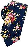 Mantieqingway Men's Cotton Printed Floral Neck Tie Skinny Ties