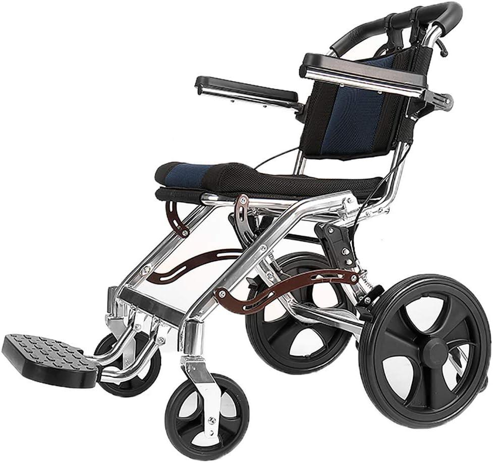 LXLCZ Silla de Ruedas Plegable Ligera Silla de Viaje de aleación de Titanio portátil Reposabrazos se Puede Levantar Ancho del Asiento 38 cm(Size:12-Inch Rear Wheels)