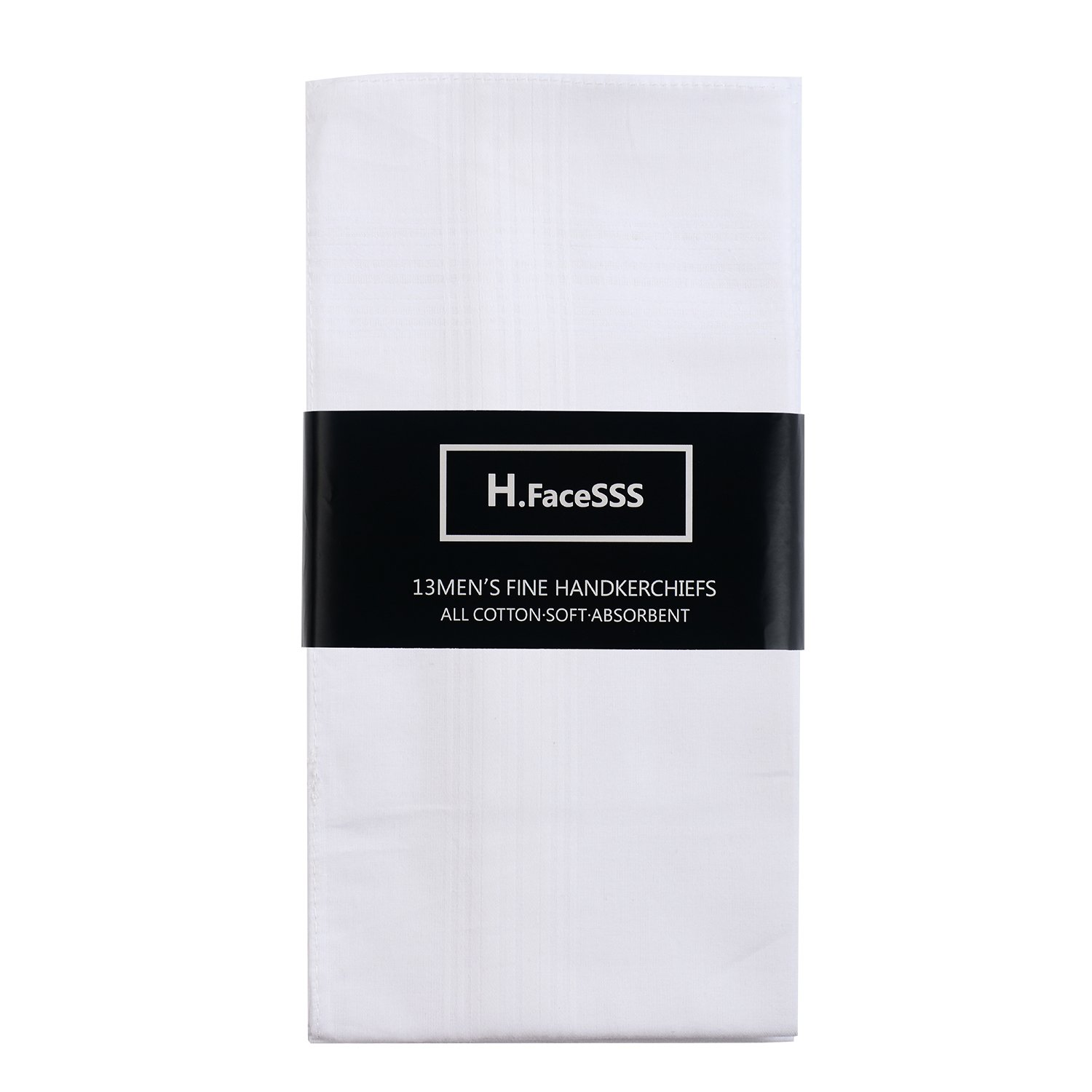 H.FaceSSS Men's White Handkerchiefs, 100% Soft Cotton Hankies with Stripe, 13 Pack